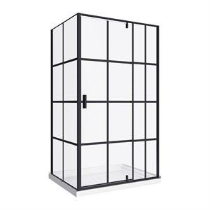 Taylor 48-RP Bath Screen Shower Enclosure Black Matt 48x60 With Acrylic Base