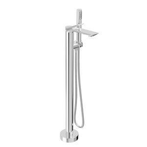 Floor-mounted tub filler with hand shower