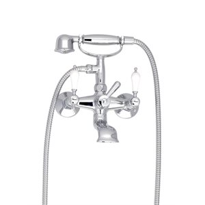 Exposed tub-shower mixer with hand shower