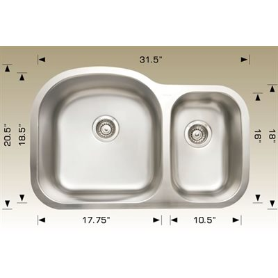 Double Kitchen sink ss 31.5x20.5x9