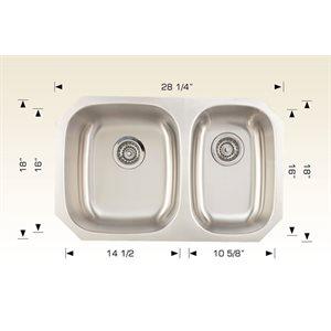 Double Kitchen sink ss 28 1 / 4x18x8