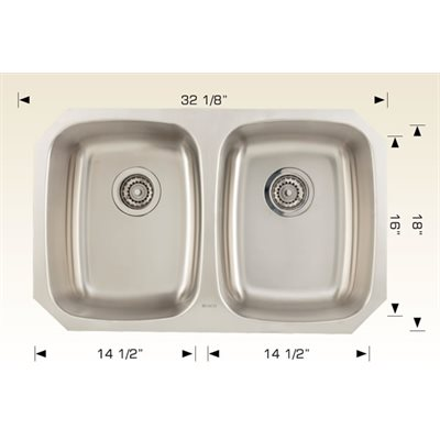 Double Kitchen sink ss 32 1 / 8x18x9