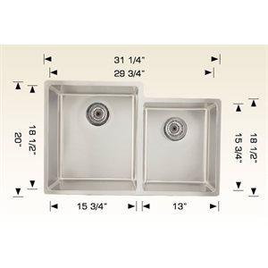 Double Kitchen sink ss 31 1 / 4x20x9