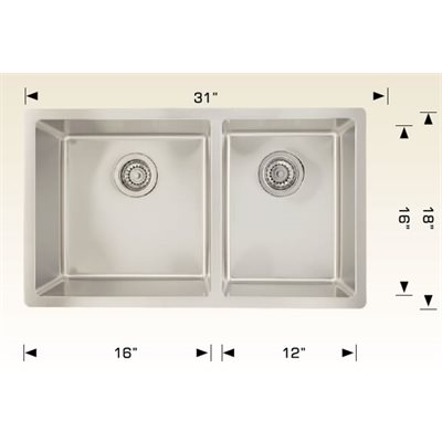 Double Kitchen sink ss 31x18x9