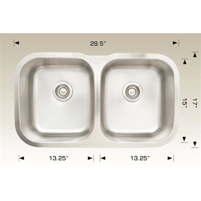 Double Kitchen sink ss 29.5x17x8