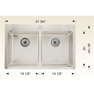 Double Kitchen sink ss 31 3 / 4x20 1 / 4x9