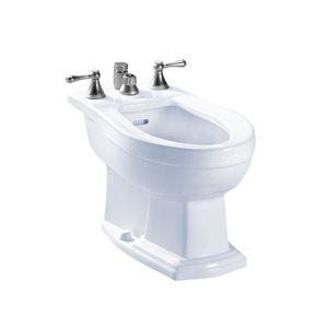 TOTO® Clayton® Deck Mount Vertical Spray Flushing Rim Bidet, Cotton White - BT784B#01