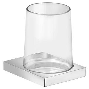 Tumbler holder   with crystal tumbler   polished chrome