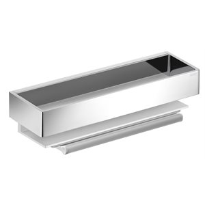Shower basket | with glass wiper | aluminum silver anodized / polished chrome
