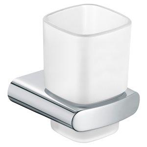 Tumbler holder   with matt crystal tumbler   polished chrome