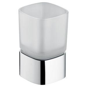 Glassholder table model   with crystal glass   polished chrome