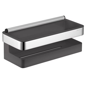 Shower basket | anthracite synthetic insert | with scraper | chrome-plated / anthracite