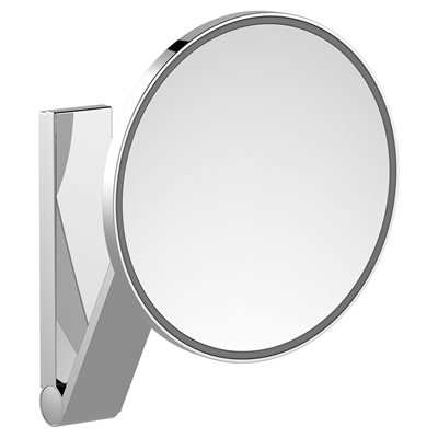 Cosmetic mirror iLook_move | wall model round w. light | polished chrome