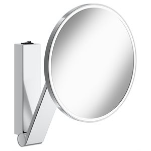 Cosmetic mirror iLook_moveUSA   wall mounted round w. light   with rocker switch   polished chrome