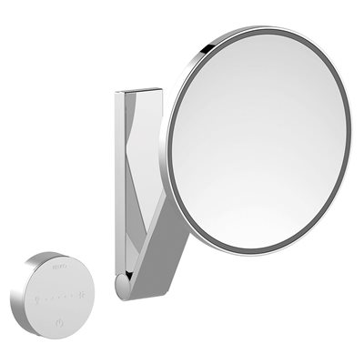 Cosmetic mirror iLook_moveUSA | wall mounted round / with light | 2 light colours / without cable | stainless steel finish