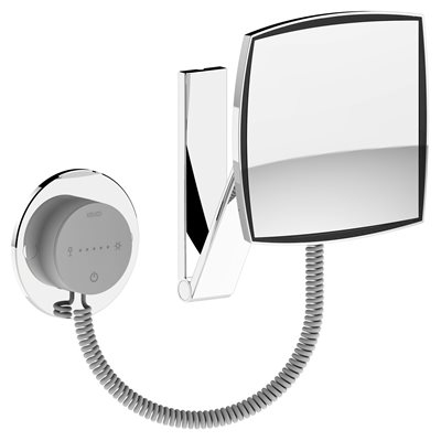 Cosmetic mirror iLook_move USA | wall-fitted model, angled | illuminated | polished chrome