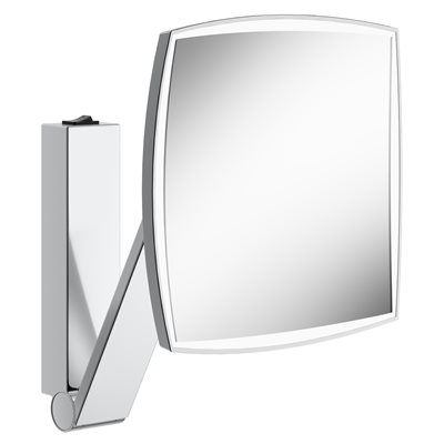 Cosmetic mirror iLook_moveUSA | wall mounted, square w. light | with rocker switch | polished chrome