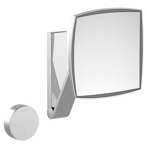 Cosmetic mirror iLook_moveUSA   wall mounted square w. light   2 light colours / without cable   stainless steel finish