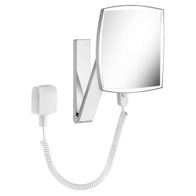 Cosmetic mirror iLook_moveUSA | wall mounted square w. light | w. plug-in power supply unit | brushed black chrome