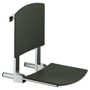 Tip-up seat with back rest | for installation on rail | polished chrome / white (RAL 9010)