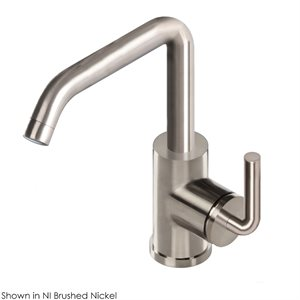 Deck-mount single-hole faucet with a squared-gooseneck swive