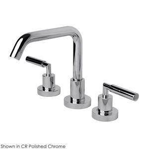 Deck-mount three-hole faucet with a square-neck swiveling sp