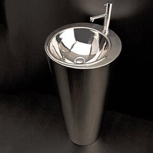 Free-standing stainless steel column pedestal Bathroom Sink