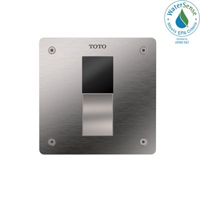 TOTO® ECOPOWER® Touchless 1.0 GPF Toilet Flushometer Valve with 4 x 4 Inch Cover Plate, Stainless Steel - TET3UAR#SS